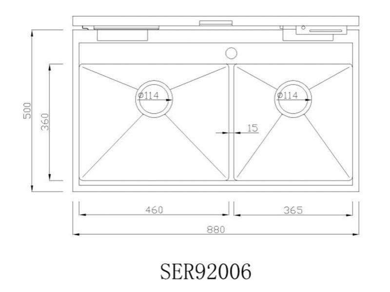 SER92006 Double Bowl Stainless Steel Kitchen Sink with Cover