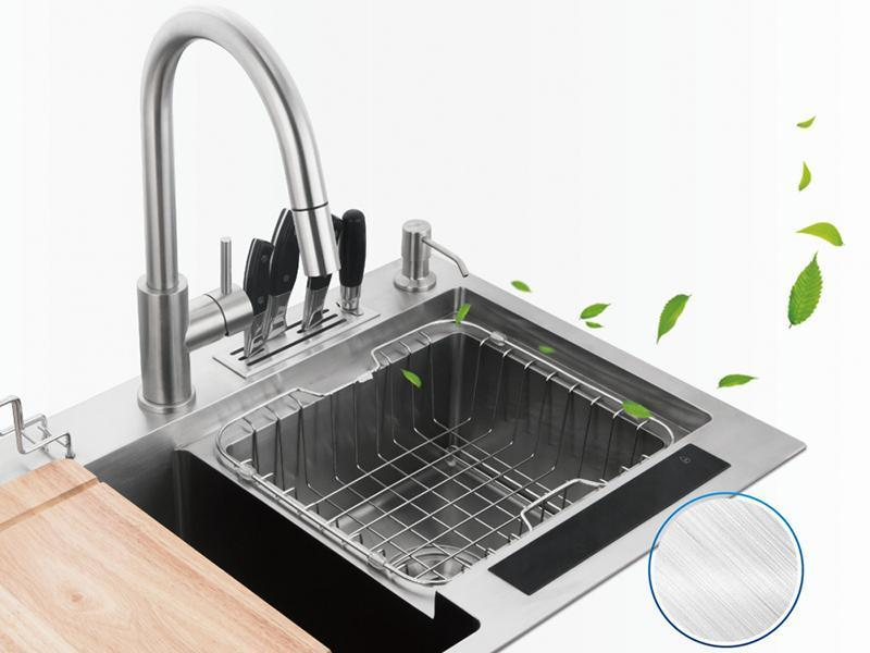SER92007-W Rectangular Double Bowl Ion Cleaning Kitchen Sink with Knife Holder